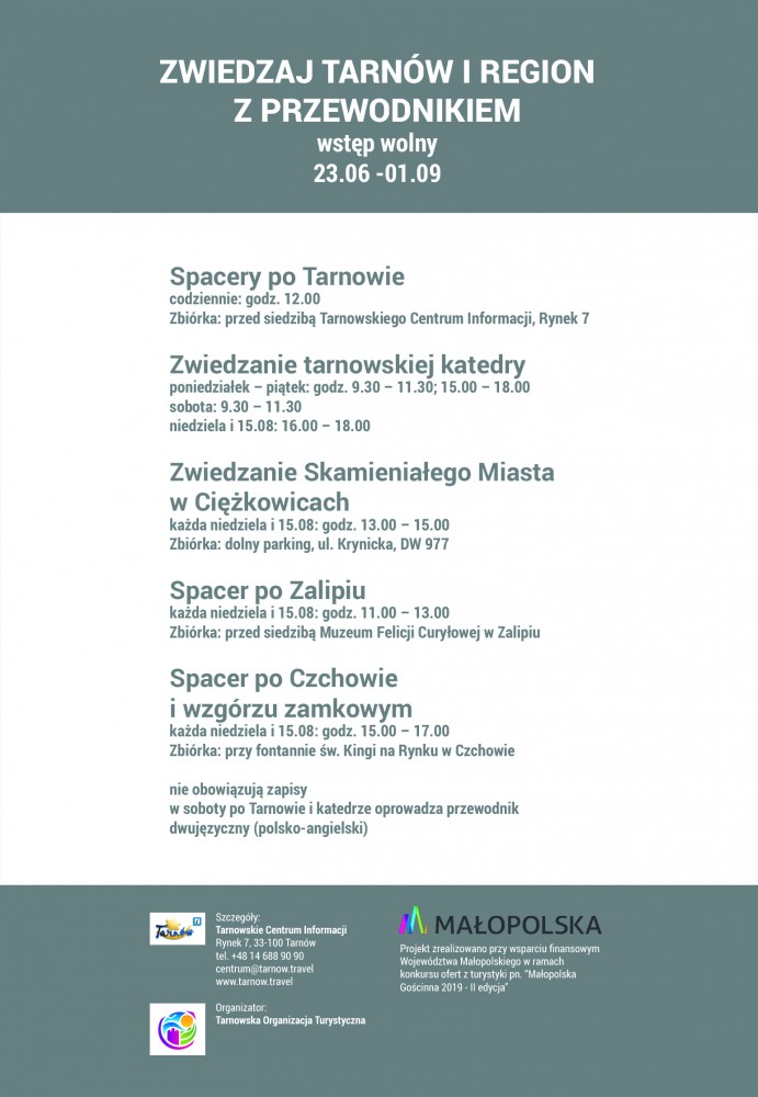Letnie wędrówki z przewodnikiem po Tarnowie i regionie